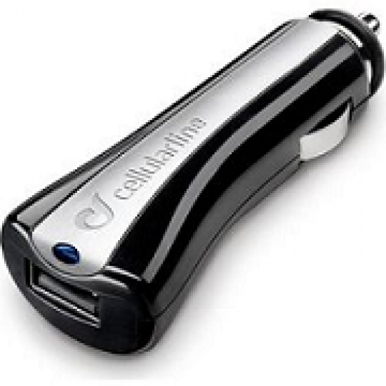 Cellularline USB Car Charger for iPhone, Samsung and Smartphones 5w/1A (CBRUSBCCBK)