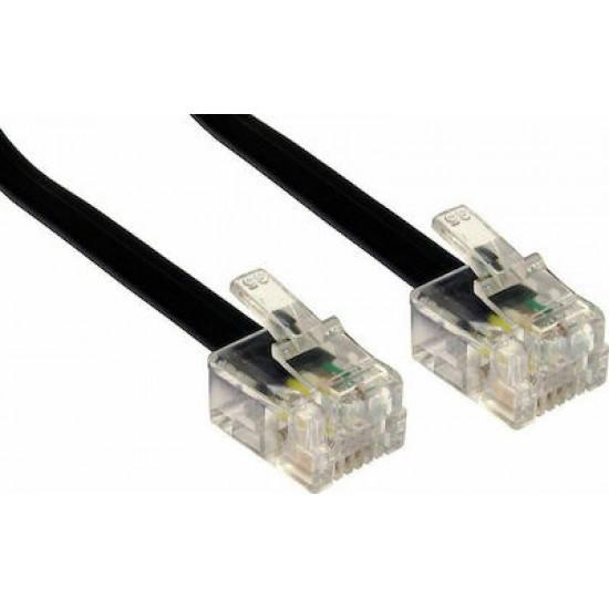 F.T. Telephone Wiring Male-Male 6P4C 10m Black