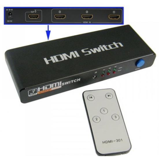 3 Port 1080P HDMI Switch, 1.3 Version, Support HD TV / Xbox 360